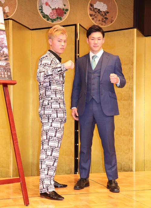 大みそかのRIZIN20で特別キックルールで対戦する那須川天心(左)と江幡塁