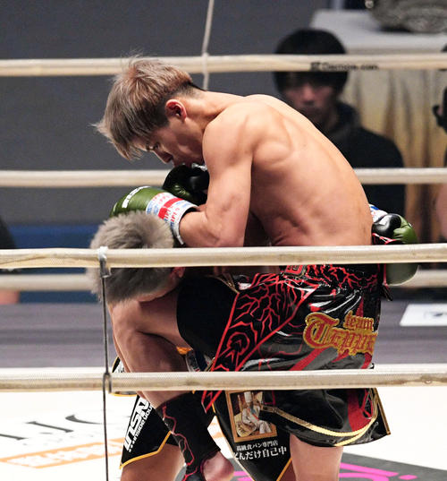 大雅(左)に膝蹴りを見舞う白鳥(撮影・滝沢徹郎)