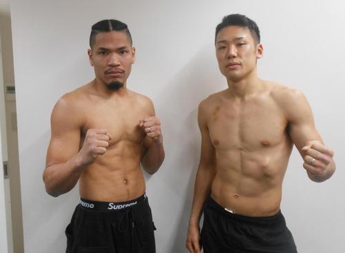 計量をクリアした王者細川チャーリー忍(左)と挑戦者竹迫司登