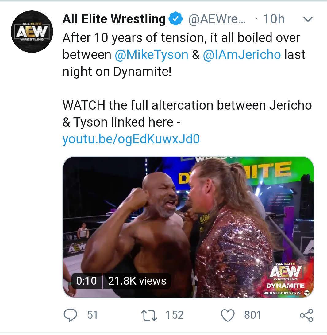 ボクシング元ヘビー級王者マイク・タイソン氏(左)とクリス・ジェリコの挑発合戦を伝えた米プロレス団体AEWの公式ツイッター