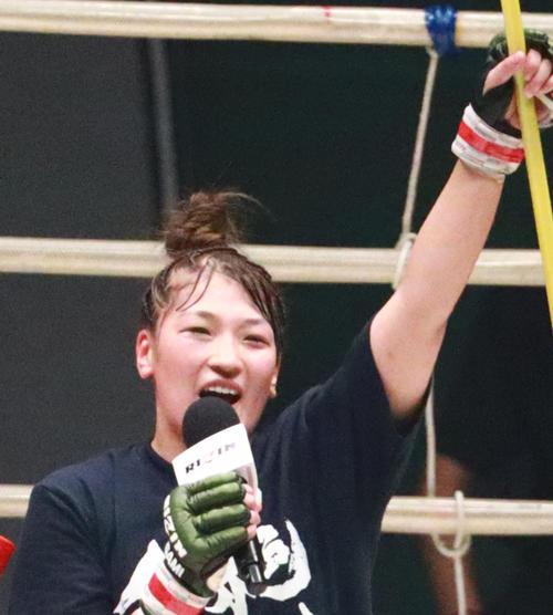 RIZINのリングから残り数試合で卒業を宣言したRENA(撮影・中島郁夫)