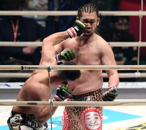 2回、HIROYA(左)のパンチを被弾するシバター(撮影・滝沢徹郎)
