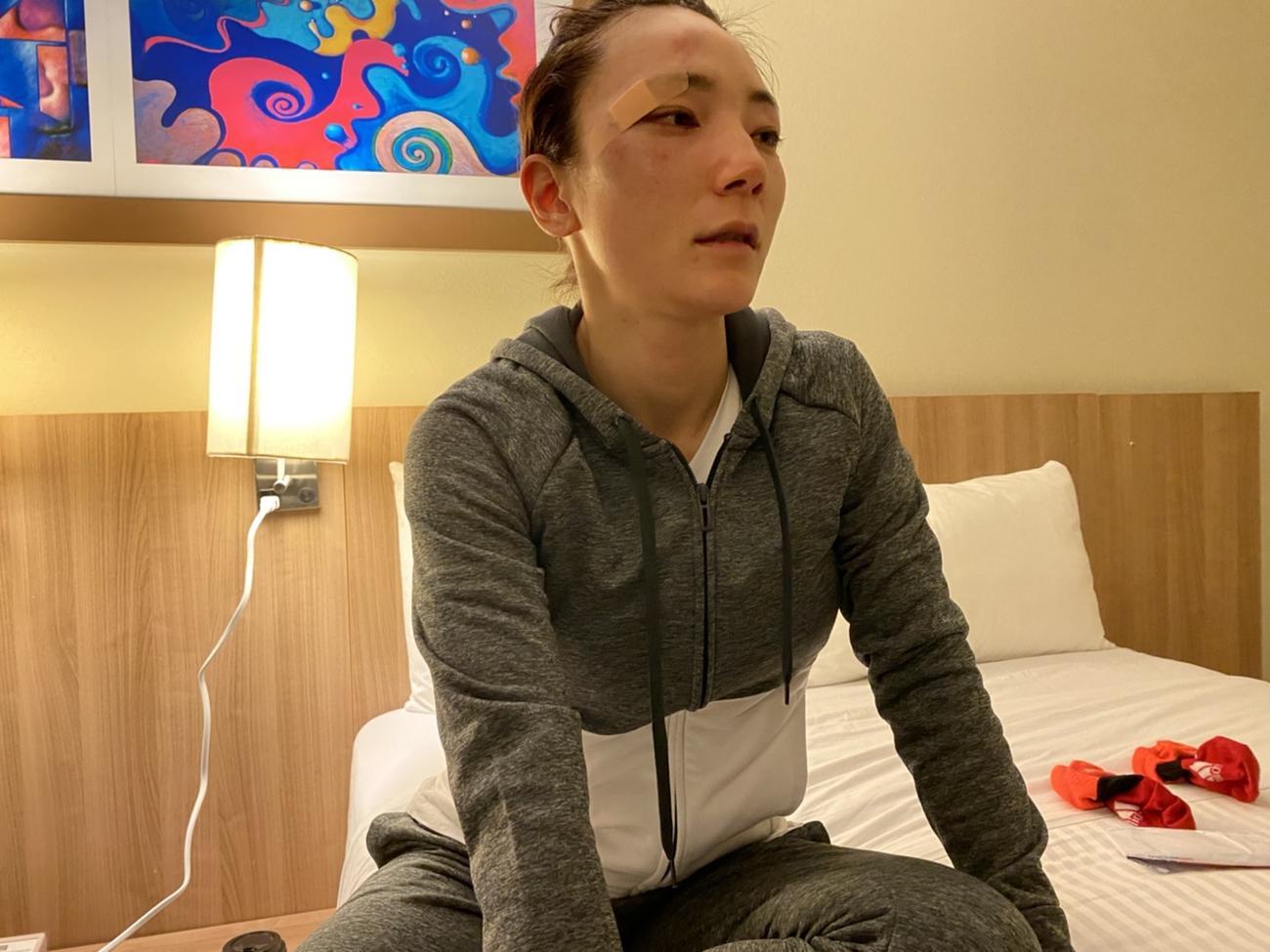 IBF女子世界ミニマム級王者バジェに判定負けを喫し、葉月は悔しそうな表情(写真提供:YuKOフィットネスボクシングジム)
