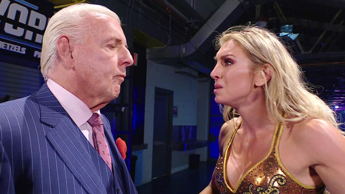 父リックに離別を直談判するシャーロット・フレアー(C)2021 WWE, Inc. All Rights Reserved.