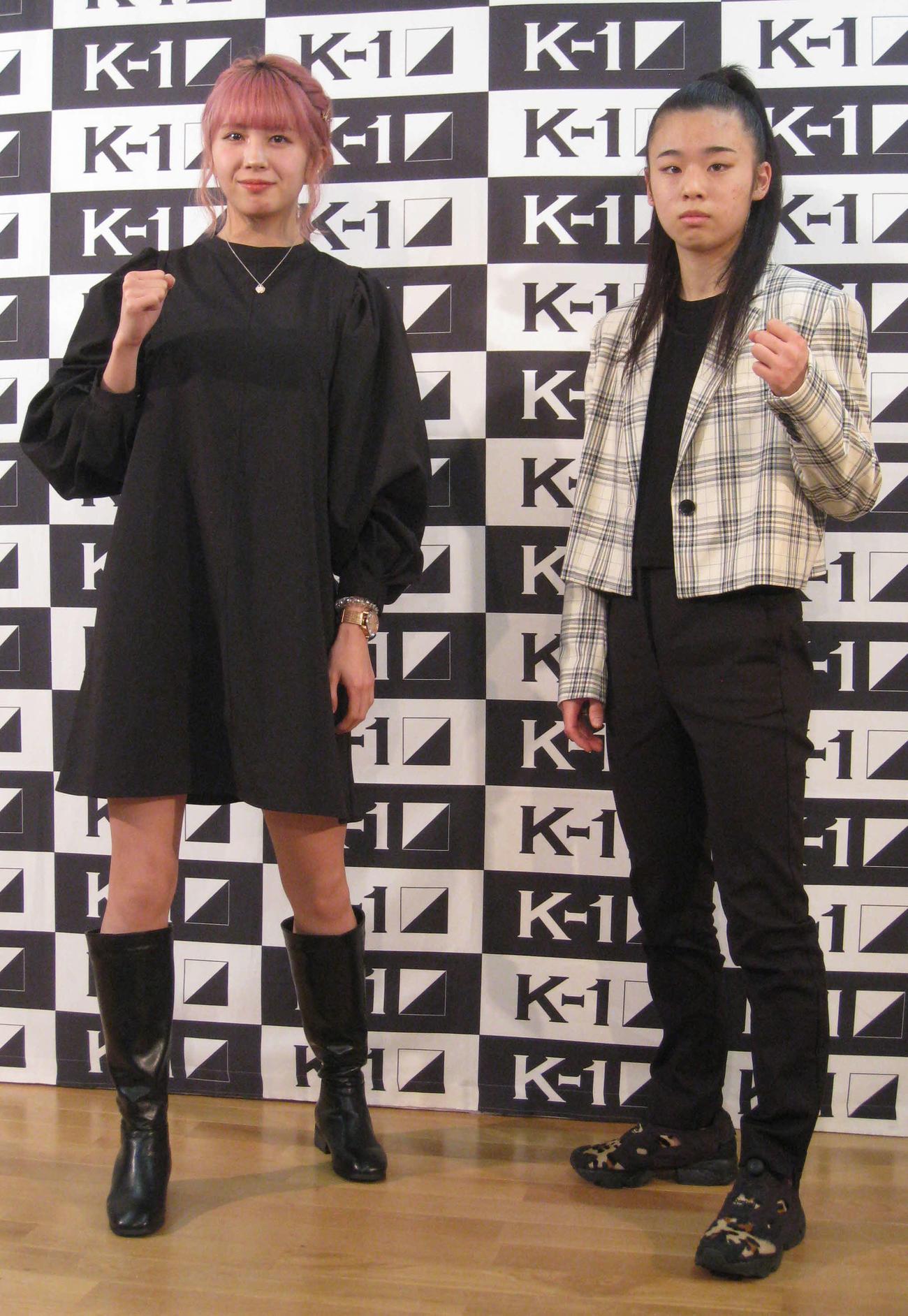 対戦が決まった21歳の菅原美優(左)と16歳のNOZOMI(撮影・吉池彰)