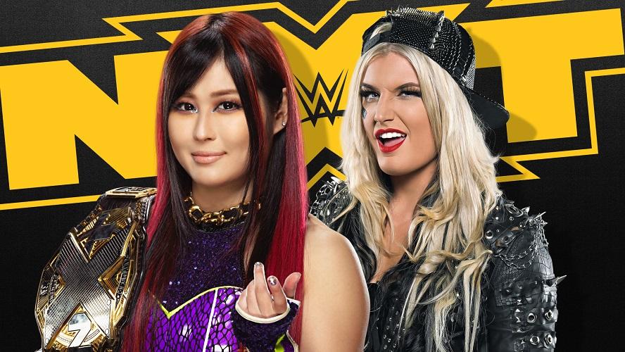 10日のNXT大会で防衛戦を控えるNXT女子王者紫雷(左)。右は挑戦者ストーム(C)2021 WWE, Inc. All Rights Reserved.