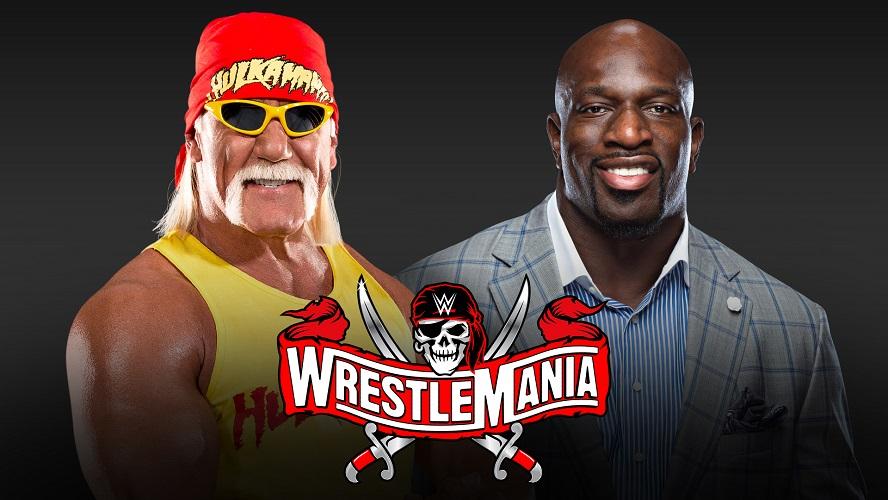 4月のレッスルマニア37大会で大会ホストと務めるハルク・ホーガン(左)とタイタス・オニール(C)2021 WWE, Inc. All Rights Reserved.