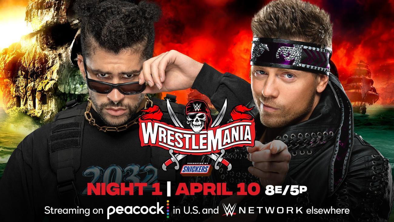 レッスルマニア37大会でのシングル戦が決まったバッド・バニー(左)とザ・ミズ(C)2021 WWE, Inc. All Rights Reserved.