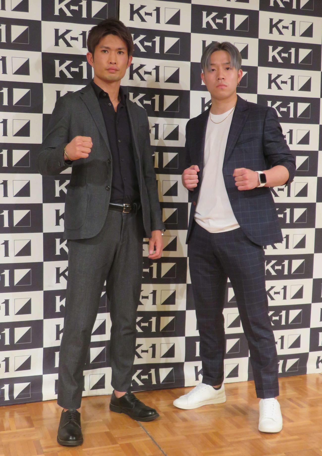 K-1デビュー戦が決まったMOMOTARO(左)。右は対戦相手の西元也史