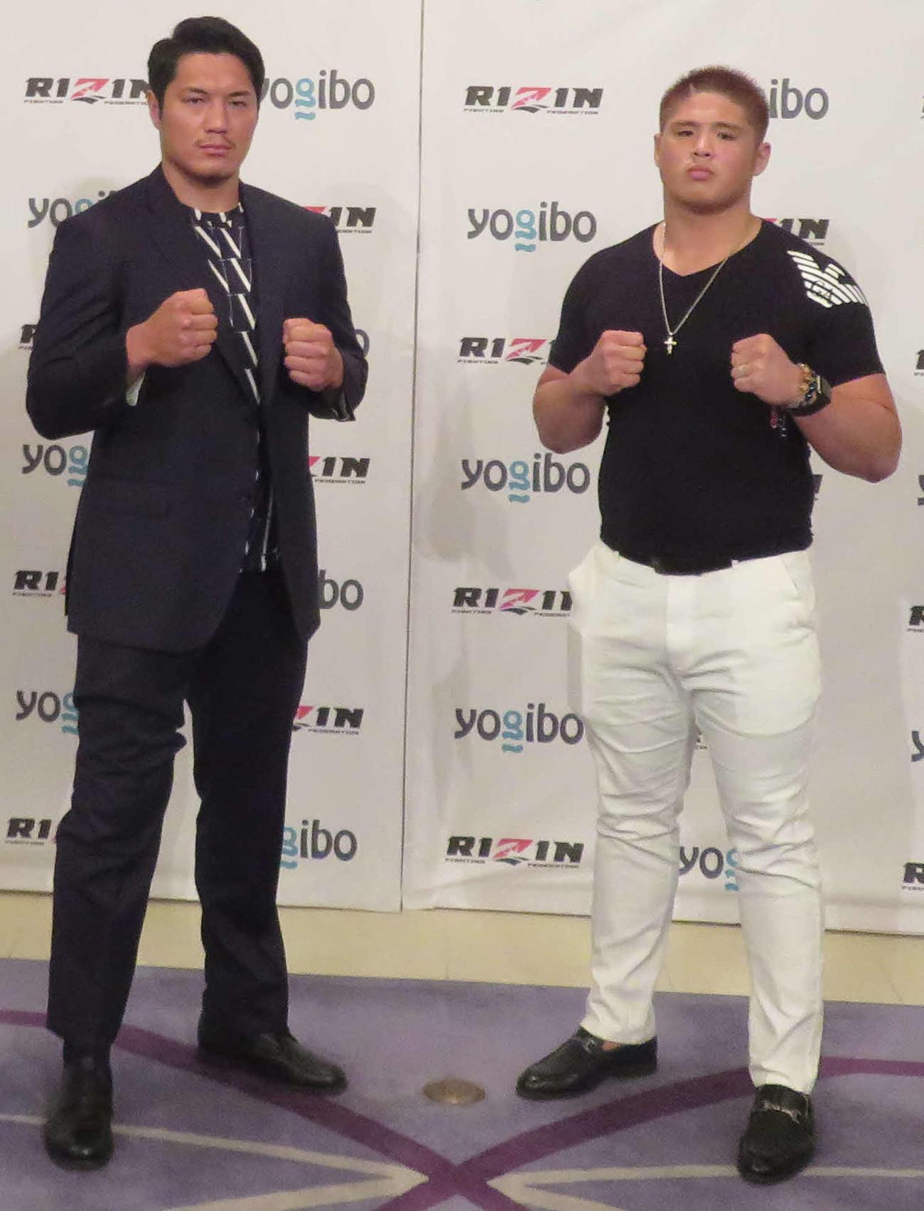 6月1日のRIZIN28大会カード発表会見に出席したスダリオ剛(右)とシビサイ頌真