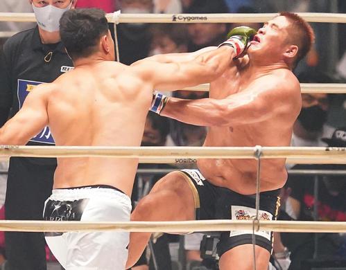 シビサイ(左)の強烈なパンチを食らうスダリオ(撮影・菅敏)