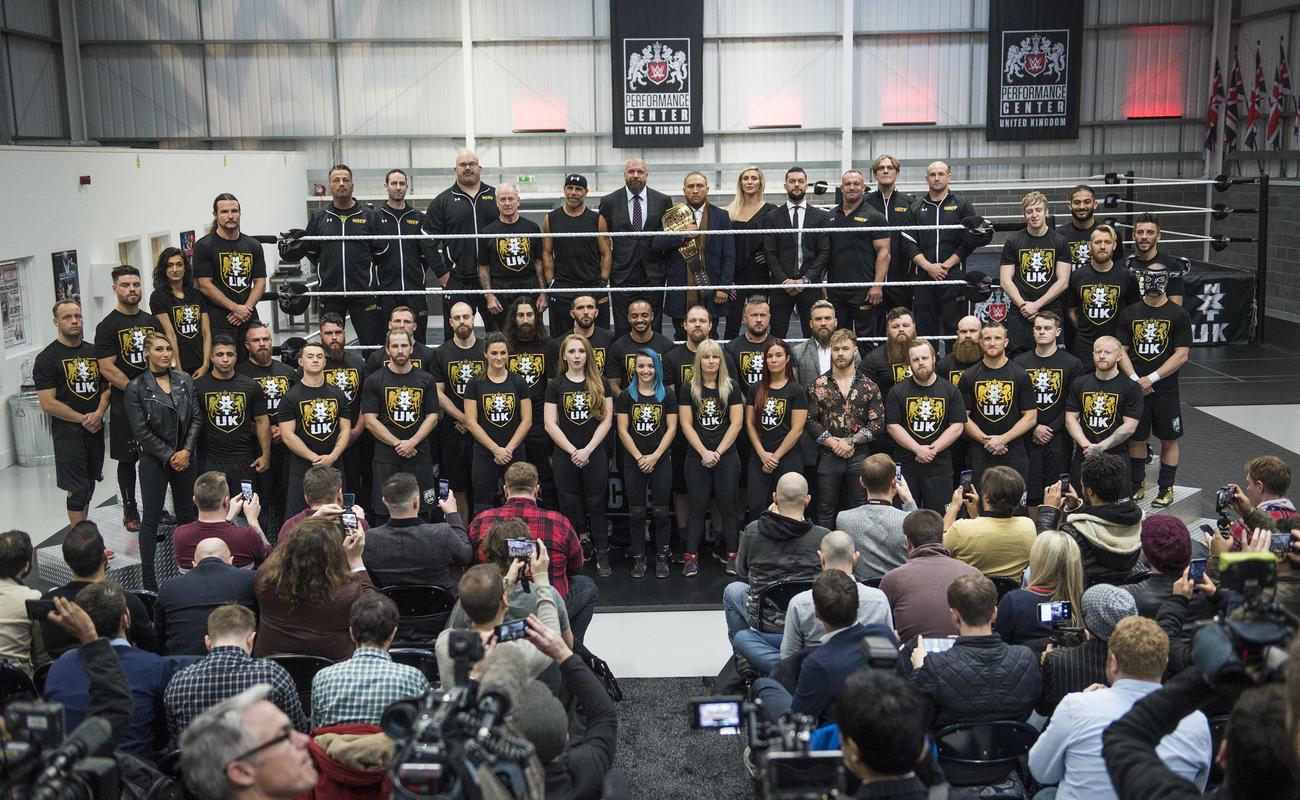 19年1月、NXT UK設立時の記者会見の模様(C)2021 WWE, Inc. All Rights Reserved.