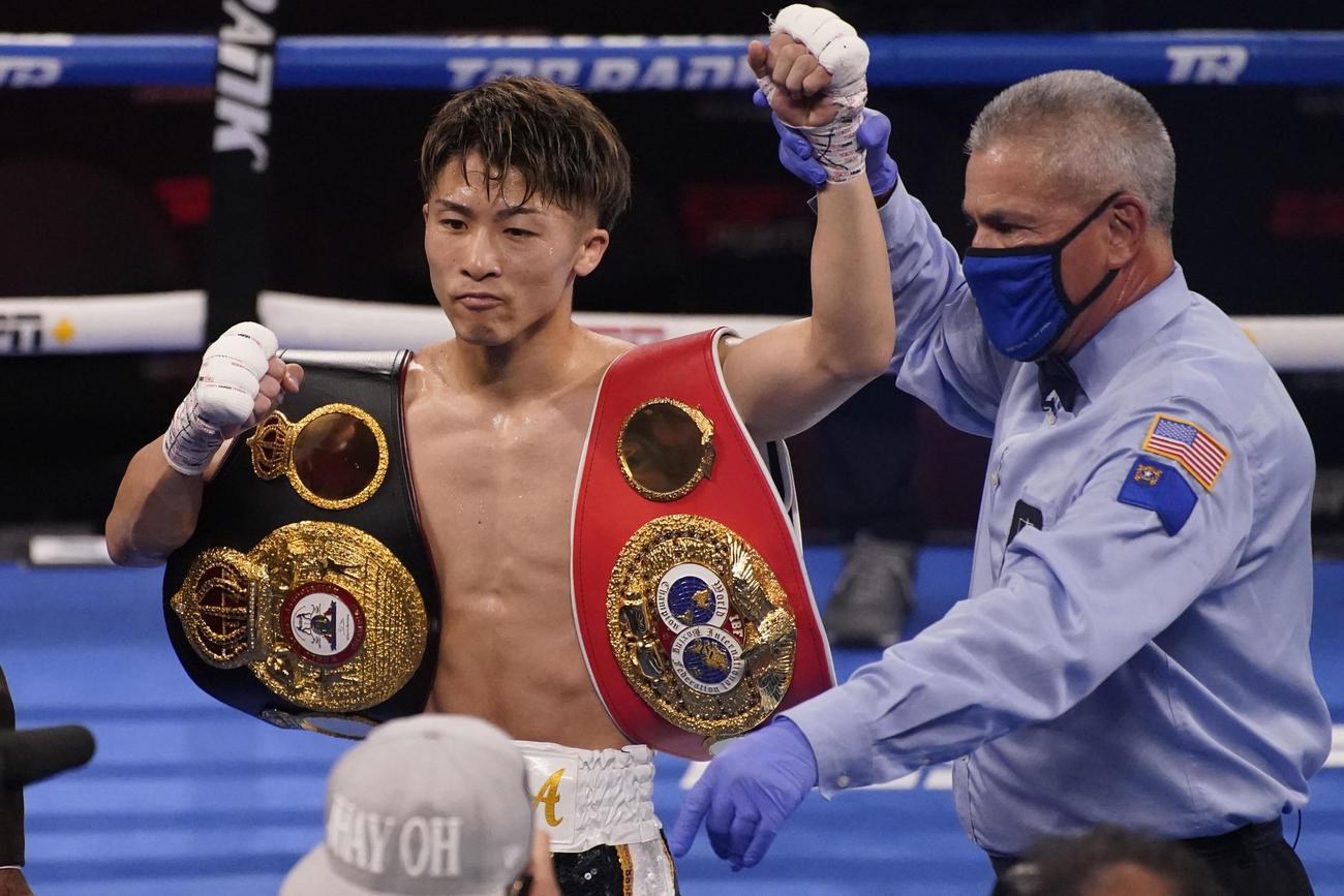 3回TKOで防衛に成功した井上尚弥(AP)