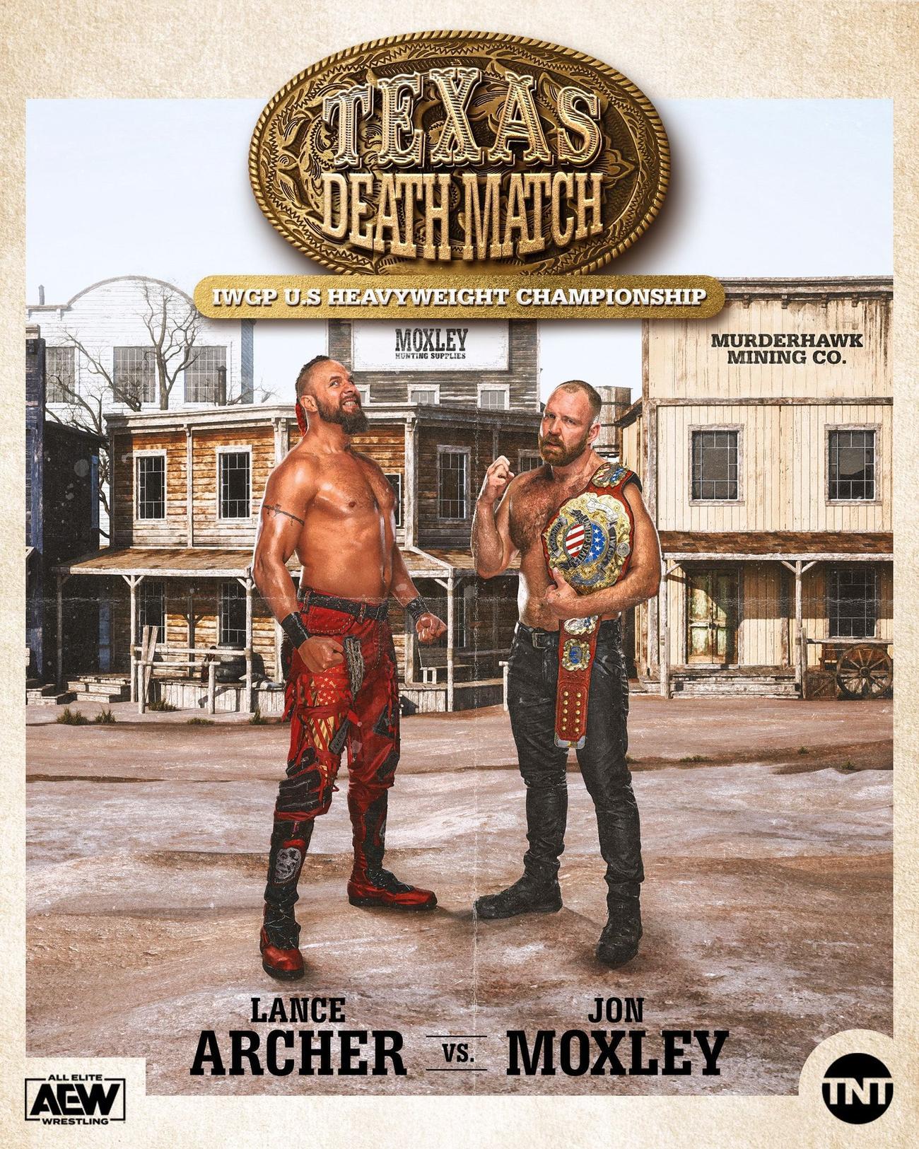 テキサス・デスマッチ形式でIWGP・USヘビー級王座戦に臨んだ王者モクスリー(右)と挑戦者アーチャー(AEWの公式SNSより)