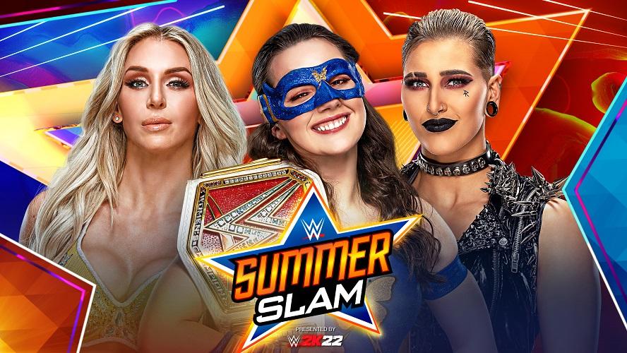 8月のPPV大会で3WAY形式の初防衛戦に臨むロウ女子王者アッシュ(中央)。左端はフレアー、右端はリプリー(C)2021 WWE, Inc. All Rights Reserved.