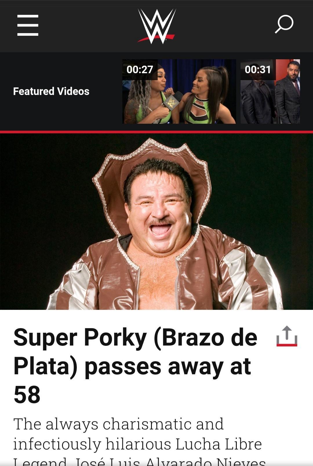 メキシコ人レスラー、スーパー・ポルキーさんの死去を発表するWWE公式サイト