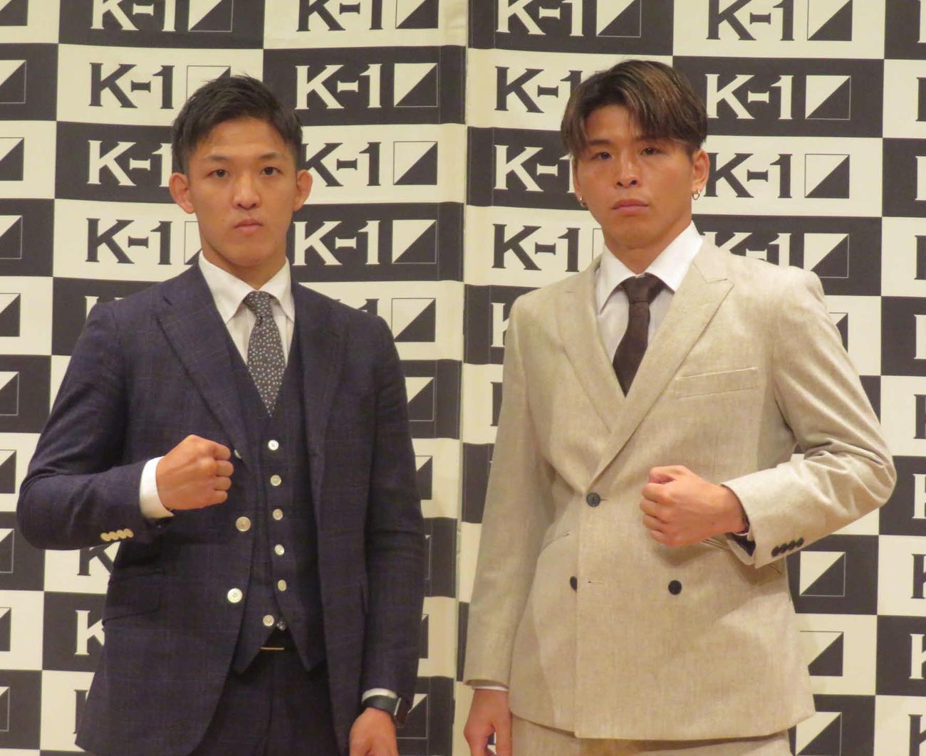 第2代ウエルター級王座決定トーナメント1回戦で激突する野杁(左)と加藤