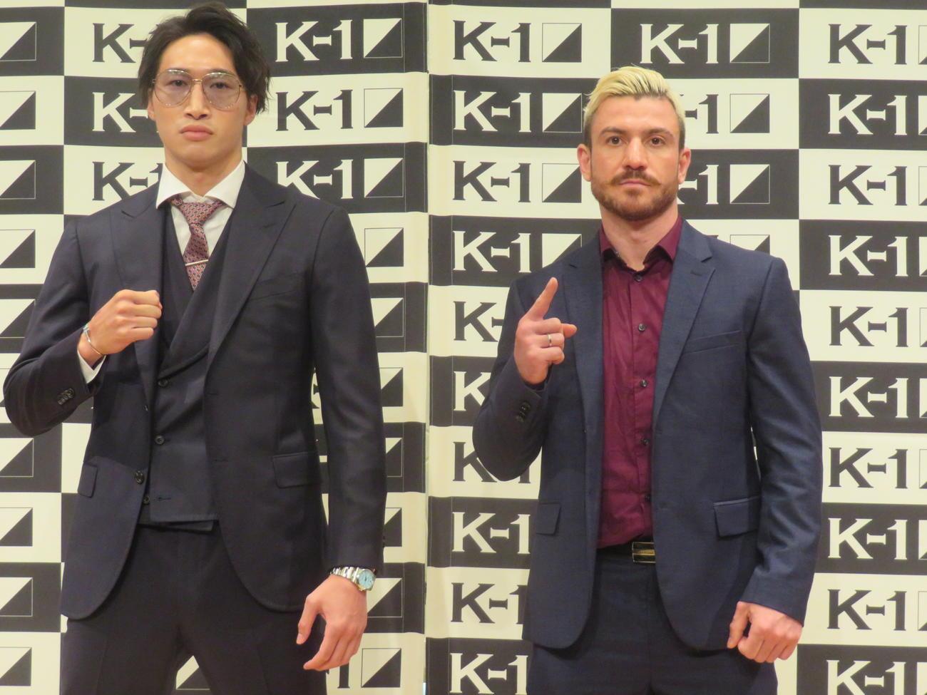 第2代ウエルター級王座決定トーナメント1回戦で対戦する安保(左)とソアレス