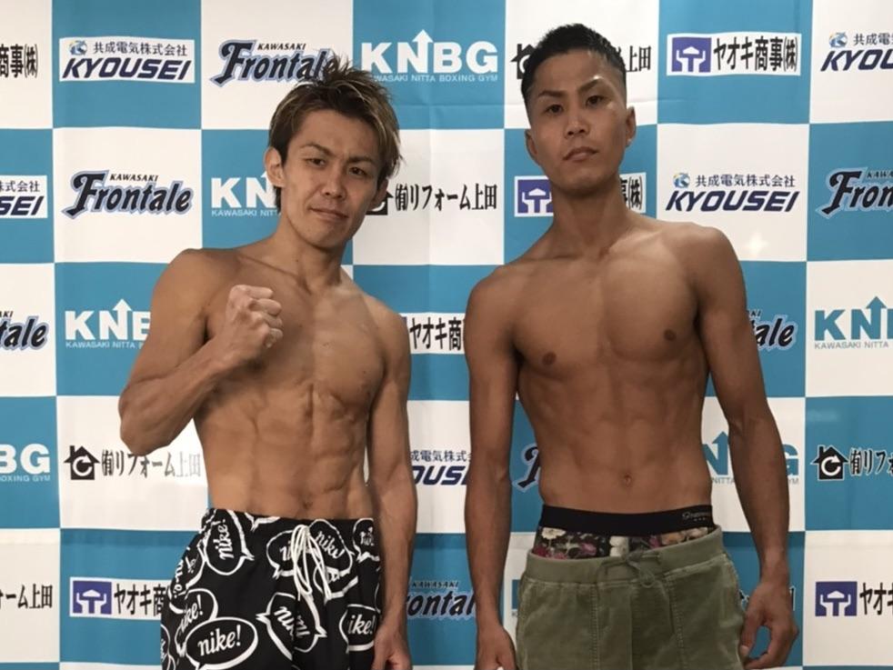 計量をクリアした古橋岳也(左)と花森成吾(川崎新田ジム提供)