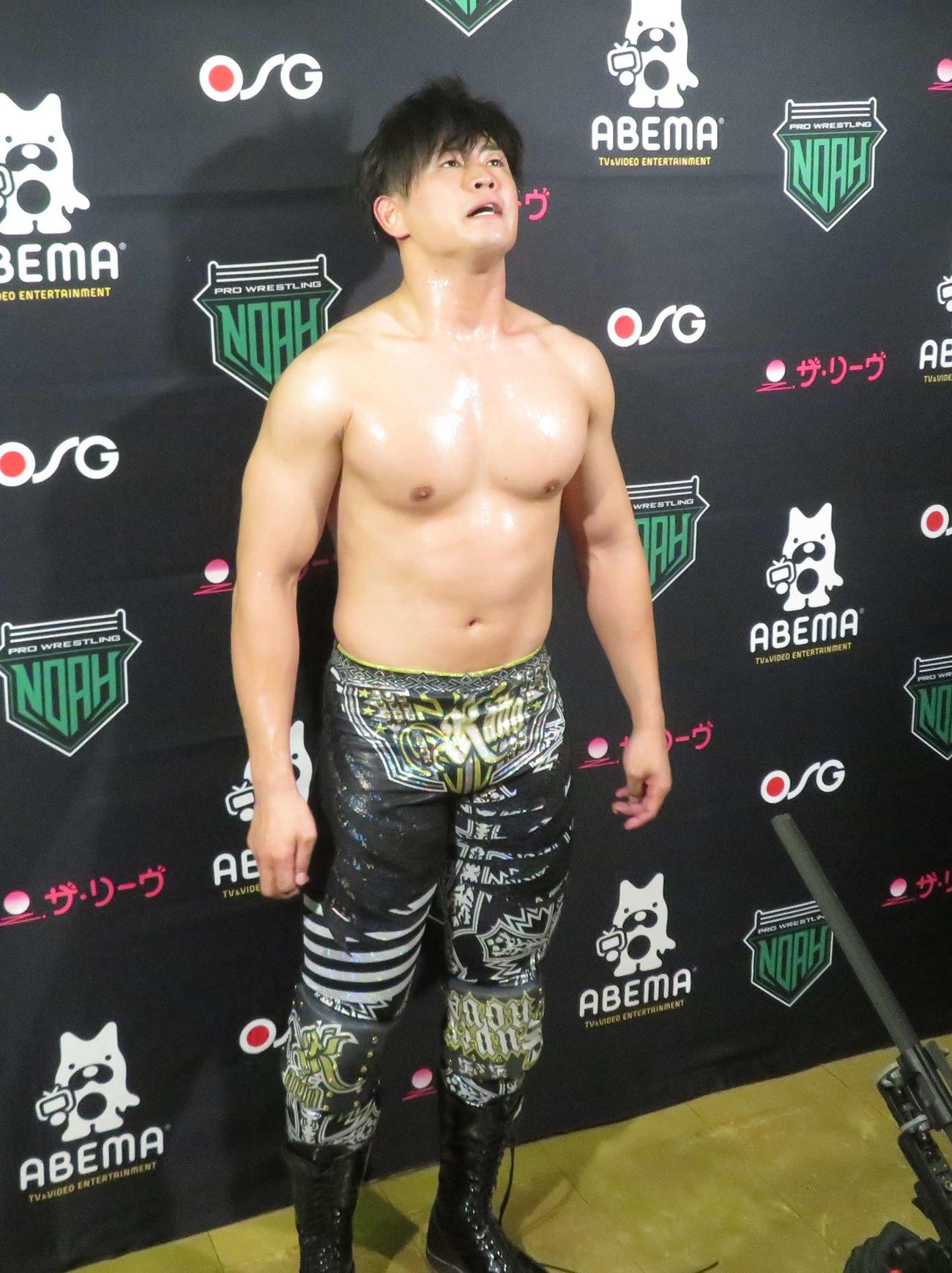プロレスリング・ノア 武藤敬司と引き分け、準決勝進出を決めた清宮海斗(撮影・松熊洋介)