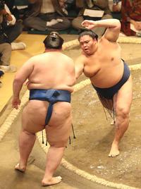 逸ノ城(左)を押し出す御嶽海(撮影・河野匠)