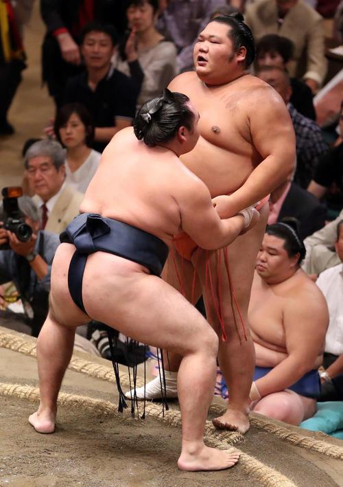千代大龍(右)を寄り切りで破る鶴竜(撮影・狩俣裕三)