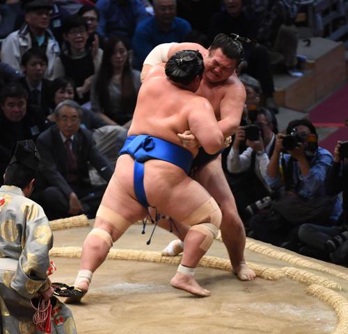 大相撲九州場所 勢を寄り切りで破る琴奨菊(撮影・今浪浩三)