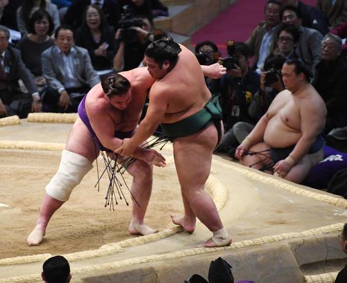 大相撲九州場所2日目 錦木をよりきりで破る栃ノ心(撮影・今浪浩三)