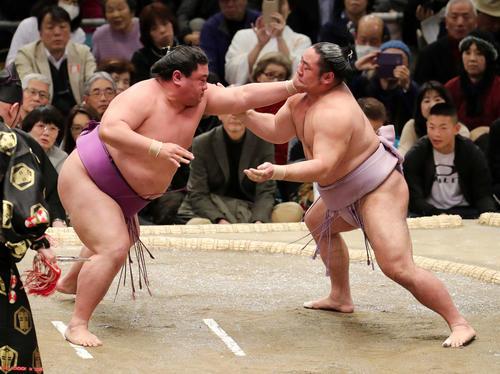 琴恵光(右)を激しく攻める嘉風(撮影・鈴木正人)