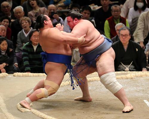 琴奨菊(左)を押し出しで破る碧山(撮影・鈴木正人)