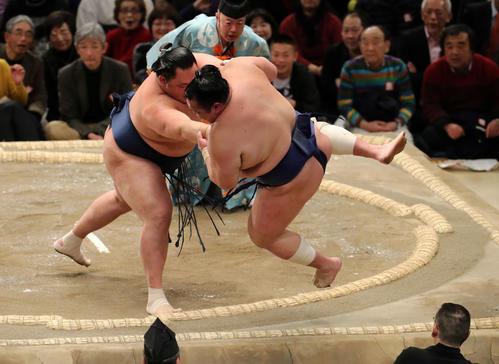 北勝富士(右)を押し出しで破る玉鷲(撮影・鈴木正人)