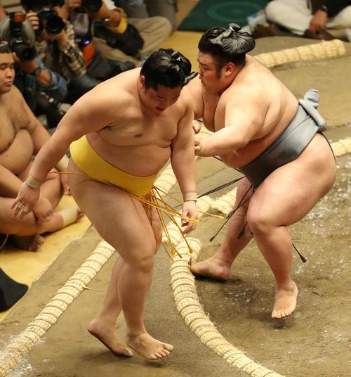 遠藤(左)を押し出しで破る貴景勝(撮影・河田真司)
