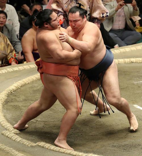 千代大龍(左)を寄り切る鶴竜(撮影・河野匠)