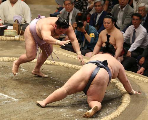 徳勝龍(右)を突き落とす琴恵光(撮影・河野匠)