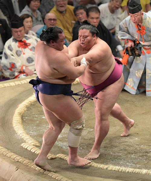 御嶽海(右)は押し出しで北勝富士を下す(撮影・加藤諒)
