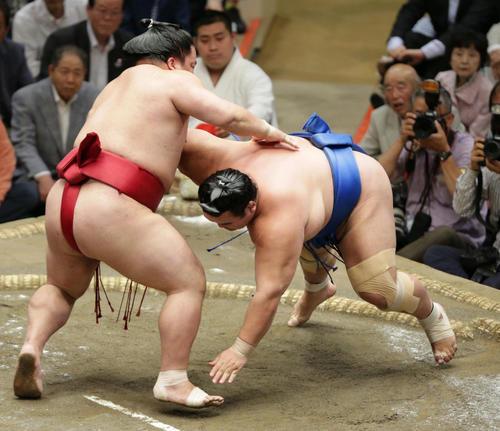 琴奨菊(右)を引き落としで下した大栄翔(撮影・中島郁夫)