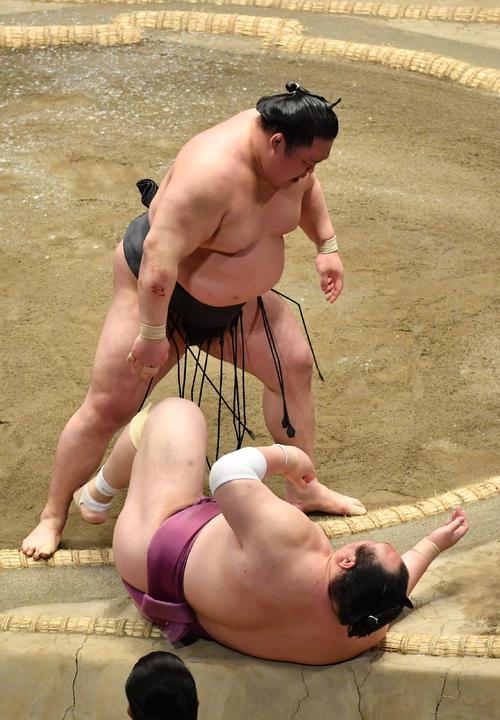 豪栄道(上)は宝富士を寄り倒しで破る(撮影・柴田隆二)