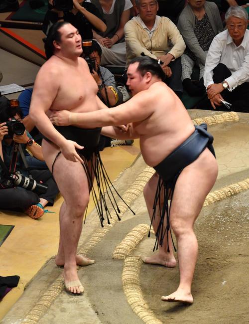 鶴竜(右)は竜電を寄り切りで破る(撮影・柴田隆二)