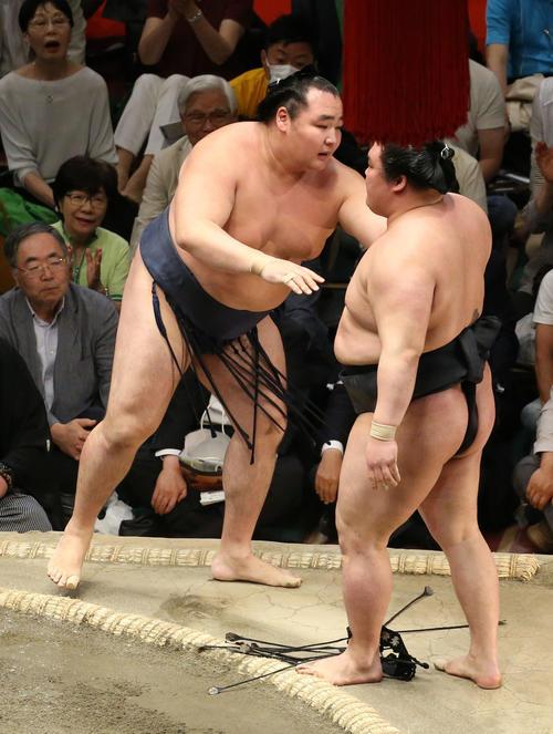 豪栄道(右)を寄り切りで破る鶴竜(撮影・河田真司)
