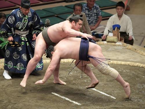 大相撲夏場所千秋楽 竜虎(左)ははたき込みで青狼を下す(撮影・加藤諒)