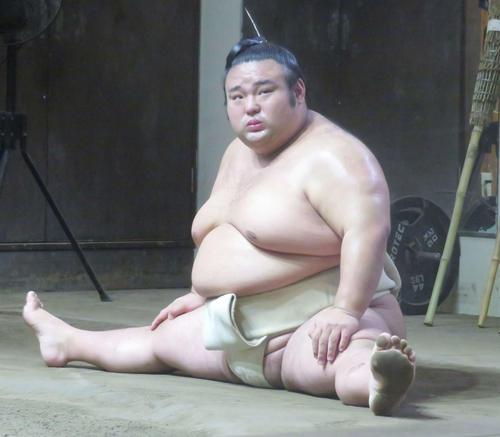 名古屋場所に向けて稽古を再開した貴景勝(撮影・佐藤礼征)