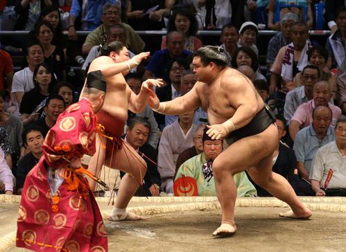 大相撲名古屋場所 阿炎(左)を押し出しで破る高安(右)(撮影・白石智彦)