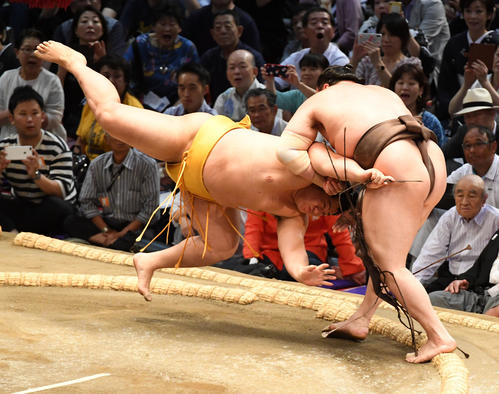 大相撲名古屋場所5日目 白鵬(右)は遠藤を小手投げで破る(撮影・前岡正明)