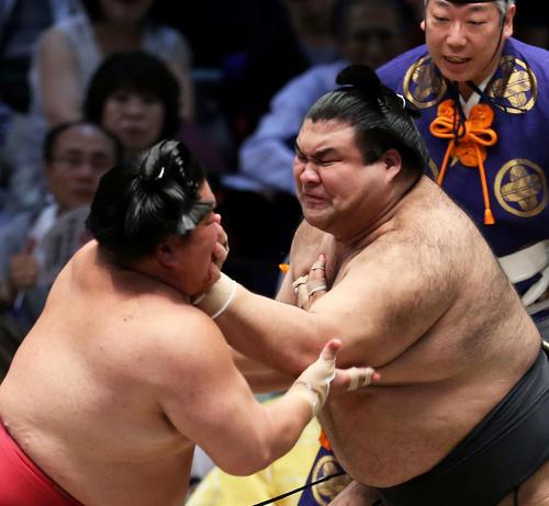 大栄翔(左)を攻める高安(撮影・河田真司)