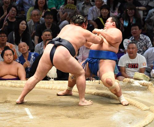 大相撲名古屋場所11日目 鶴竜(左)が突き倒しで琴奨菊に勝利する(撮影・奥田泰也)