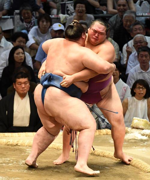 大相撲名古屋場所12日目 友風(右)は逸ノ城に寄り切りで敗れる(撮影・前岡正明)