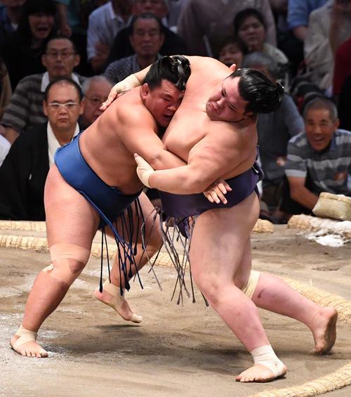 大相撲名古屋場所13日目 照強(左)が押し出しで阿武咲に勝利する(撮影・奥田泰也)