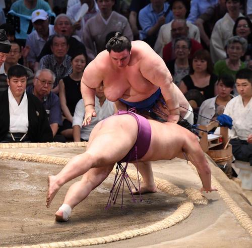 大相撲名古屋場所13日目 碧山がはたき込みで朝乃山に勝利する(撮影・奥田泰也)