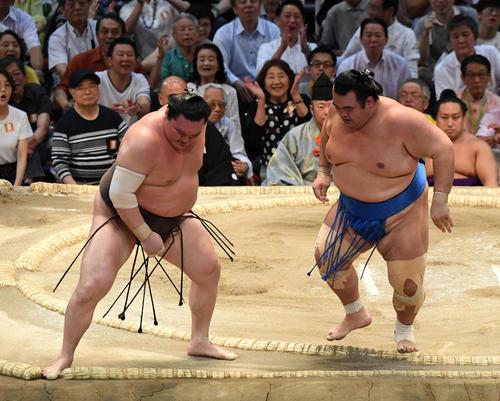 琴奨菊(右)が寄り切りで白鵬に勝利する(撮影・奥田泰也)