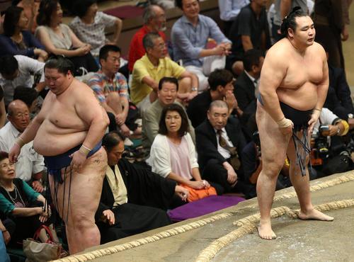 逸ノ城(左)を肩すかしで破る鶴竜(撮影・中島郁夫)